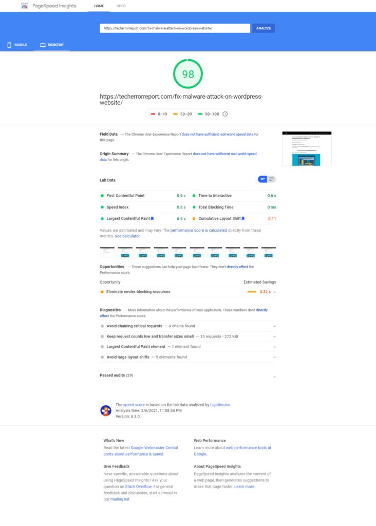 Google Page Speed on Desktop