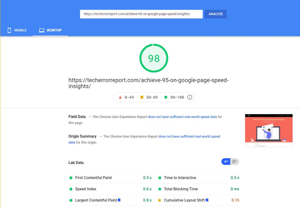 Page Speed Insight Desktop